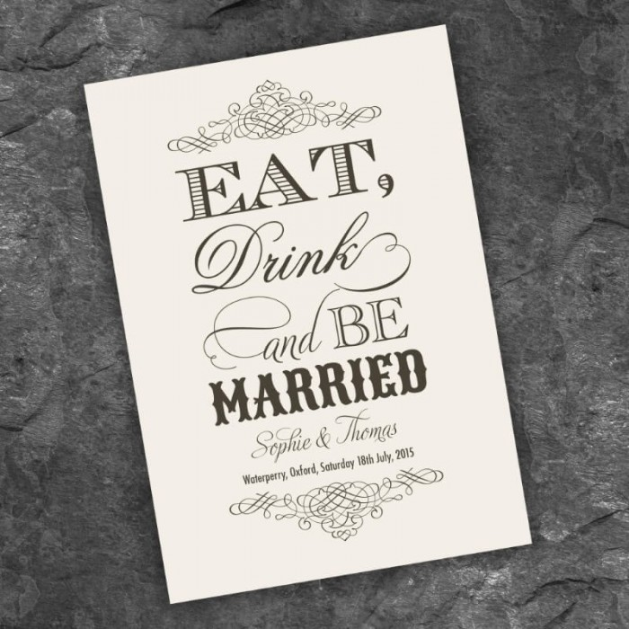 Almond Eat Drink & Be Married Save the Date Card
