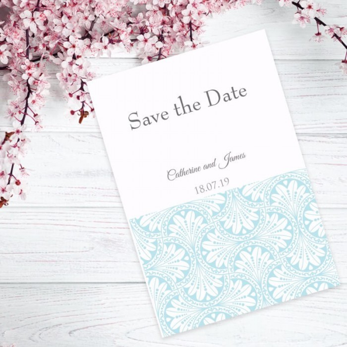 Blue Art Deco Save the Date Card