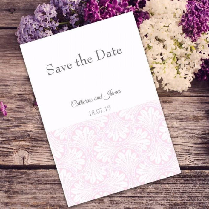 Pink Art Deco Save the Date Card
