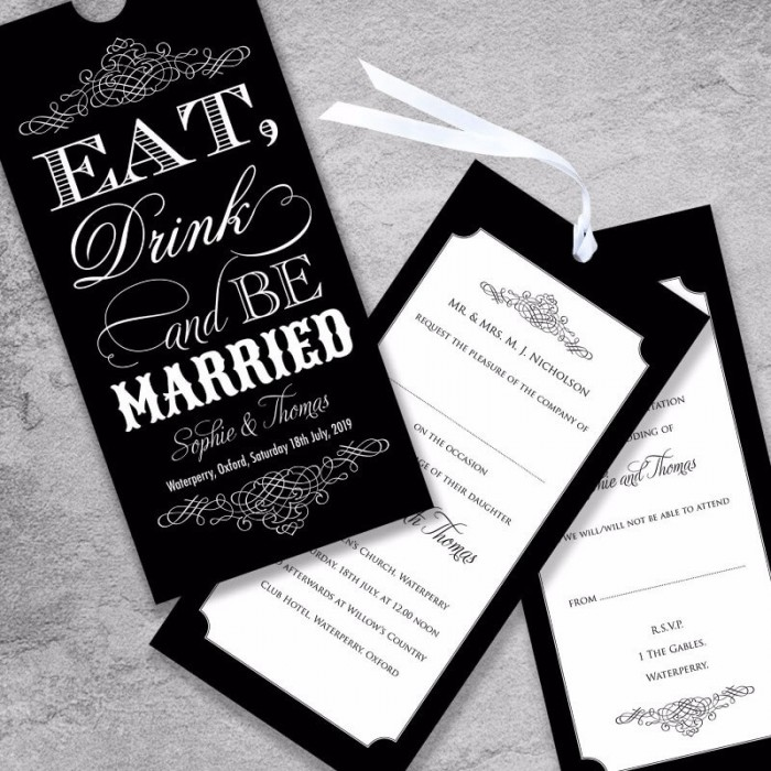 black eat drink be married wedding invitation paper themes