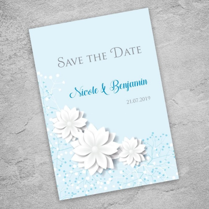 Blue Summer Blossom Save the Date Card