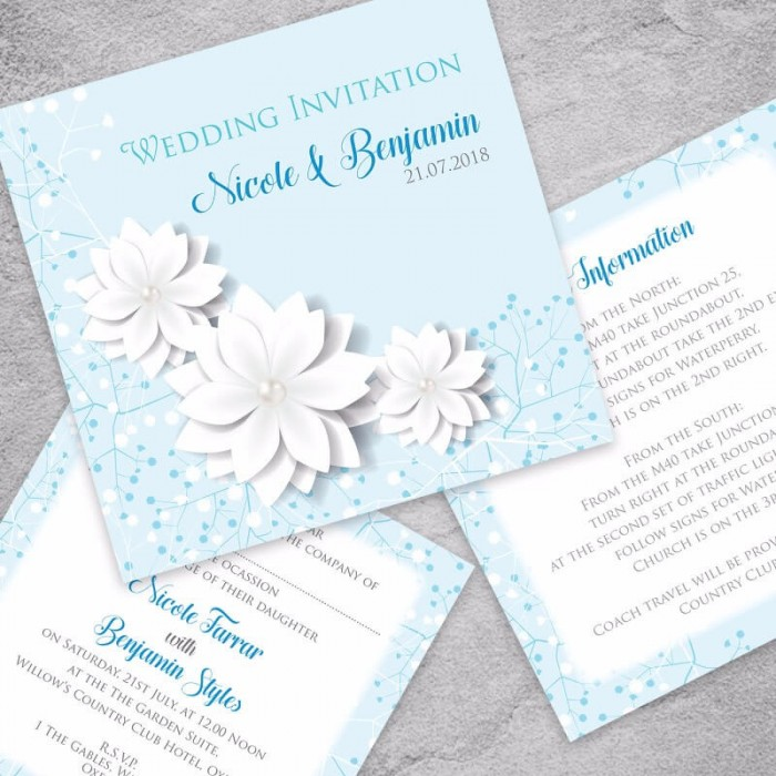 Blue Summer Blossom Wedding Invitation