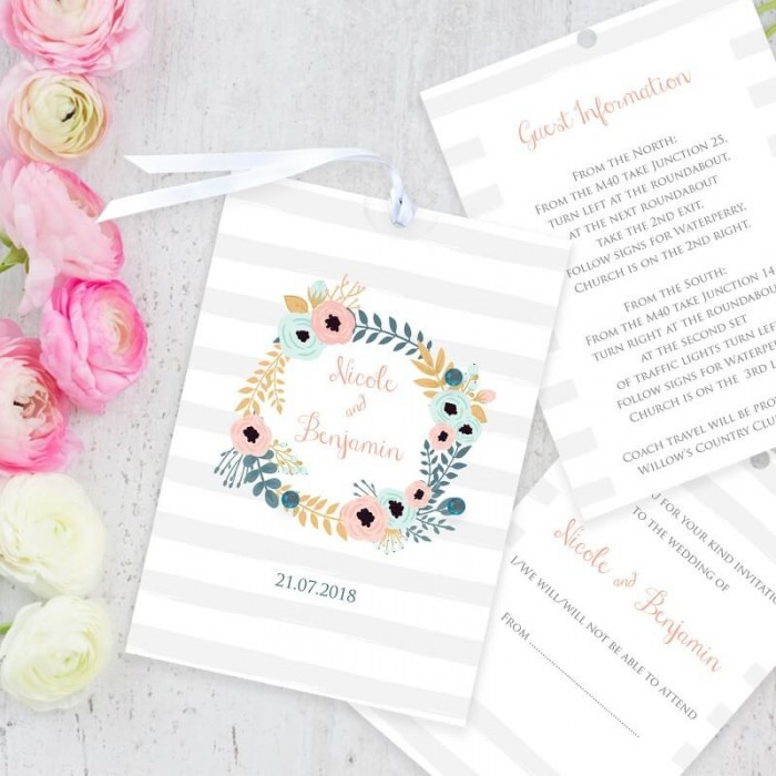 Blue Floral Wreath Wedding Invitation | Paper Themes Wedding Invites