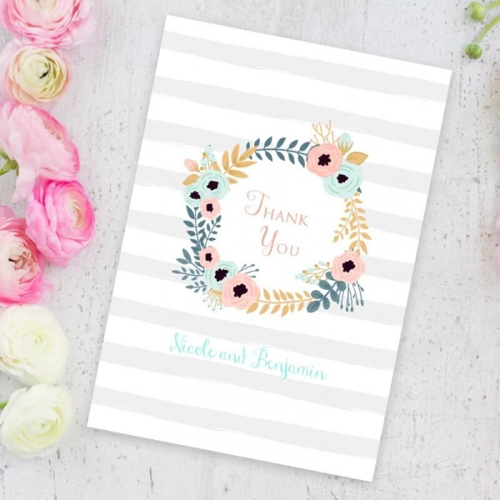 Blue Floral Wreath Thank You Card