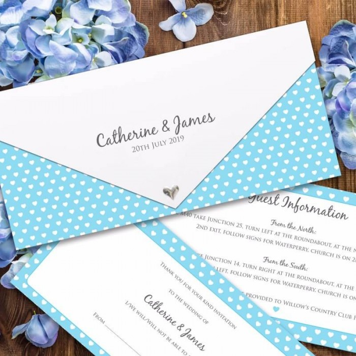 Blue Polka Dot Hearts Wedding Invitation