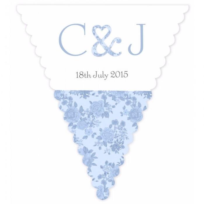 Vintage Charm Blue Wedding Bunting