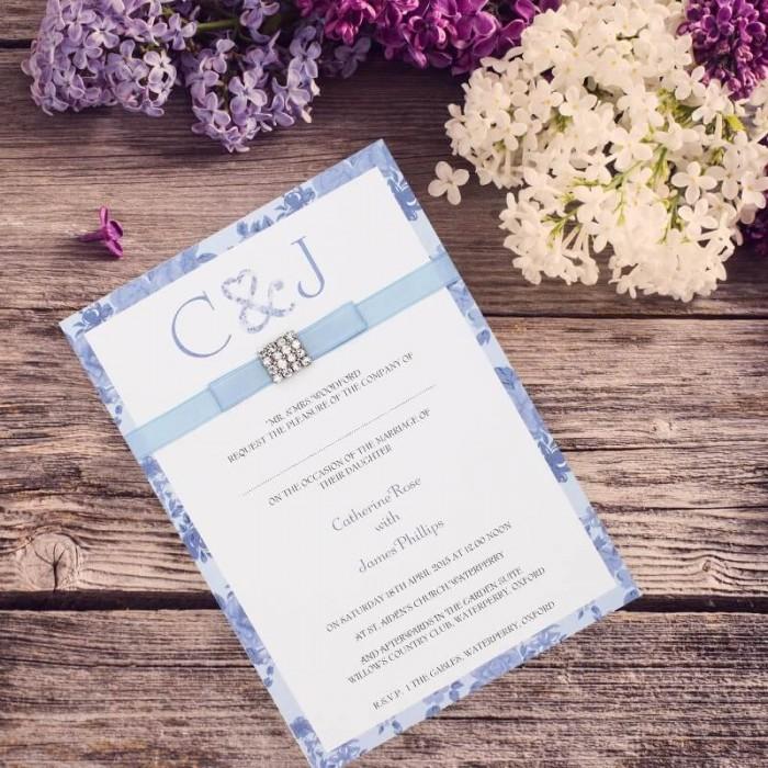 Blue Vintage Charm Wedding Invitation