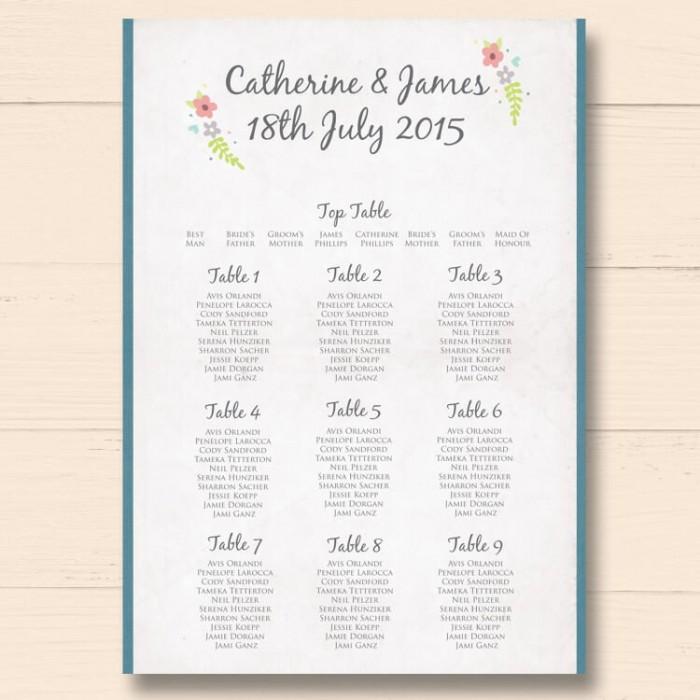 Book of Love Wedding Table Plan