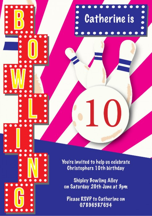 Bowling Party Birthday Party Invitation