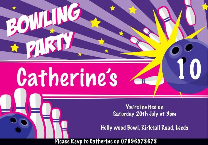 Bowling Vibes Birthday Party Invitation
