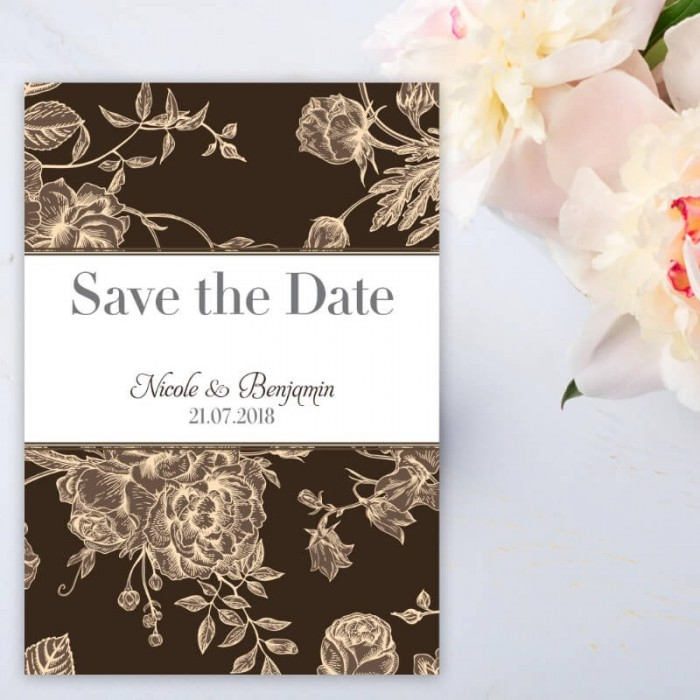 Brown Floral Romance Save the Date Card