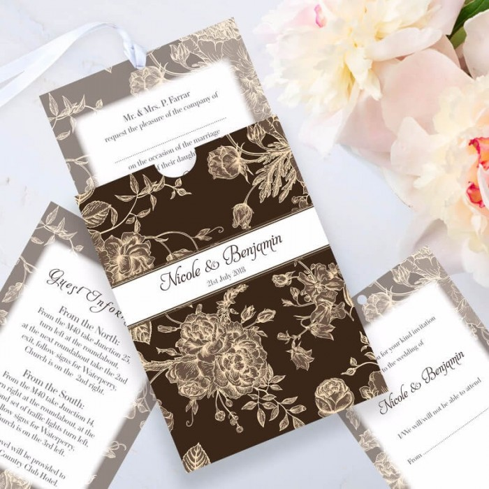 Brown Floral Romance Wedding Invitation | Paper Themes Wedding Invites