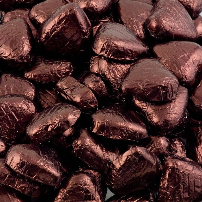 Brown Milk Chocolate Foiled Mini Hearts - 500g Pack 100 pcs