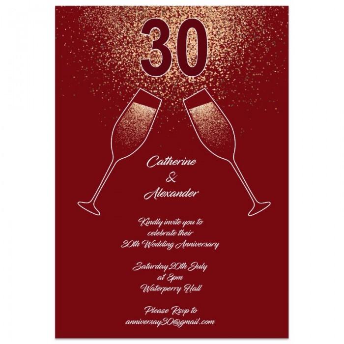 Red Champagne Sparkles Wedding Anniversary Invitations