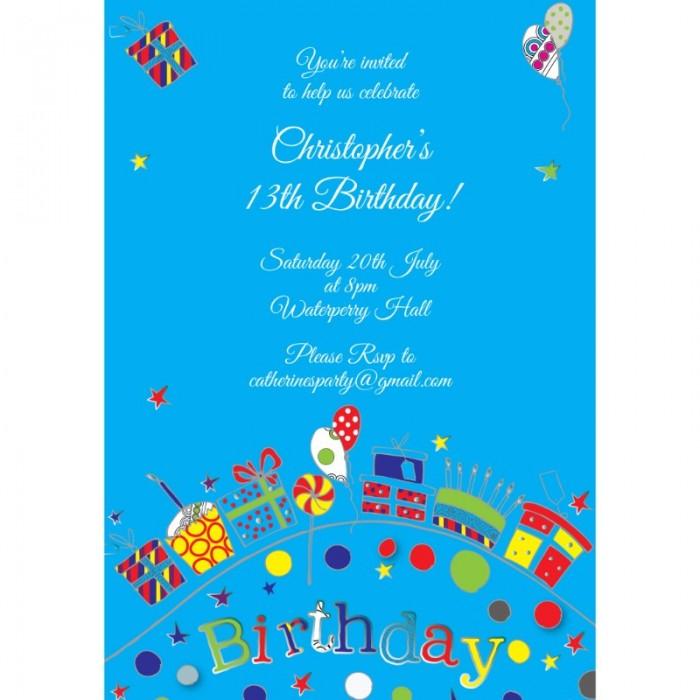 Blue Vibrant Birthday Party Invitation