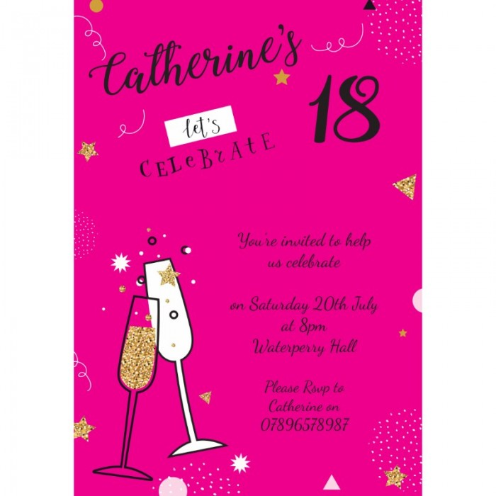 Champagne Sparkles Birthday Party Invitation