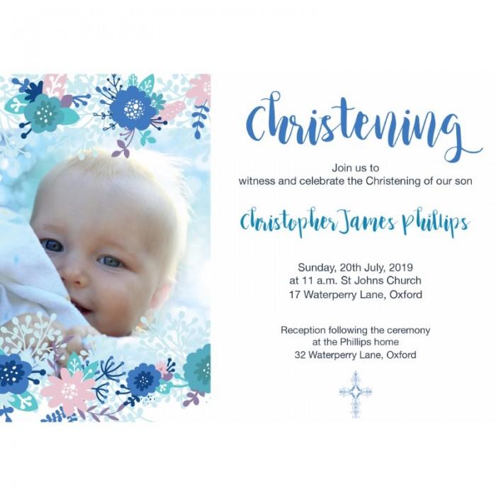 Blue Floral Christening Invitations