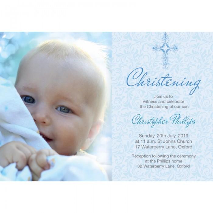 Blue Damask Christening Invitations