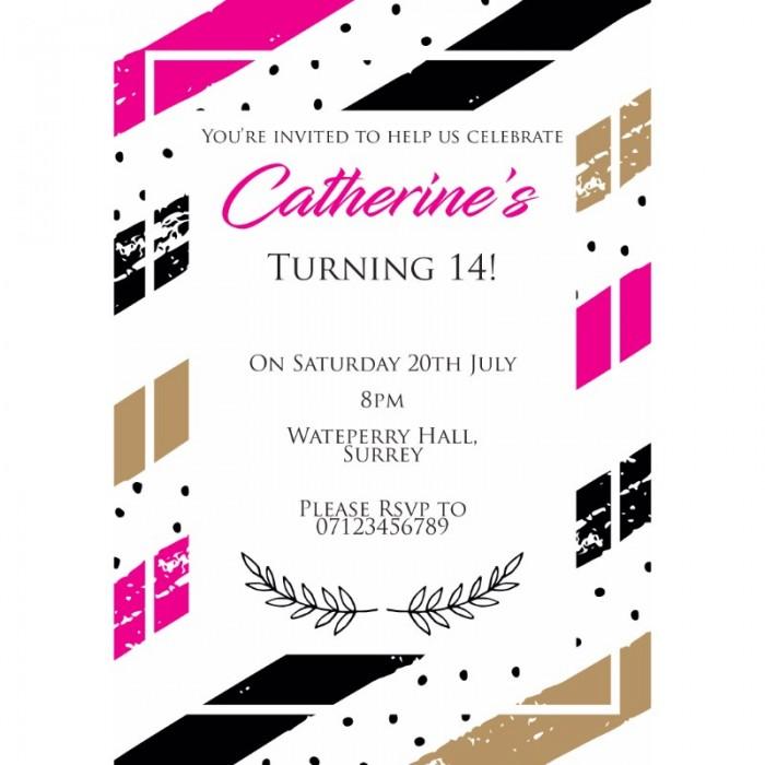 Pink Contemporary Birthday Party Invitation
