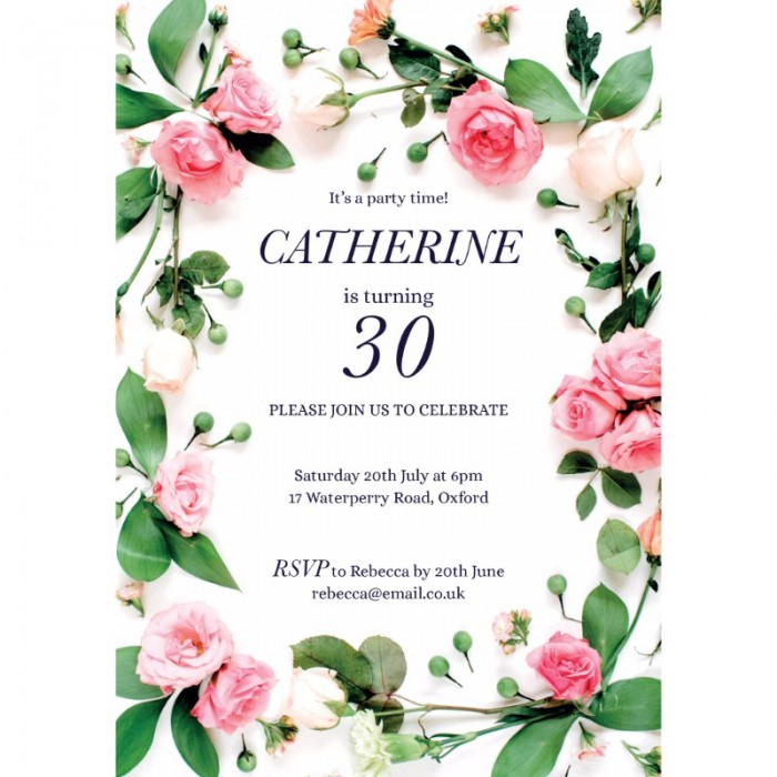 Pink Rose Birthday Party Invitation