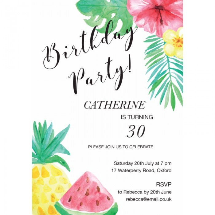 Tropical Birthday Party Invitation