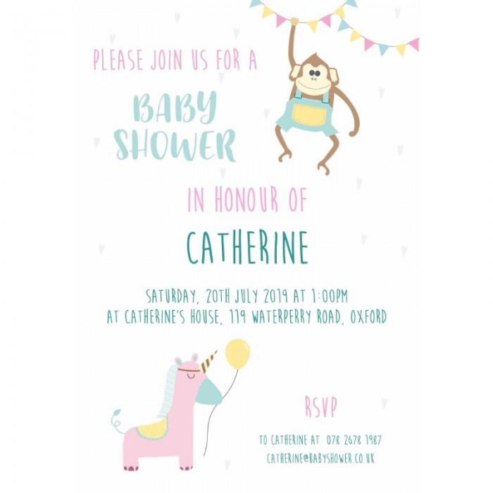 Cheeky Animals Baby Shower Invitation