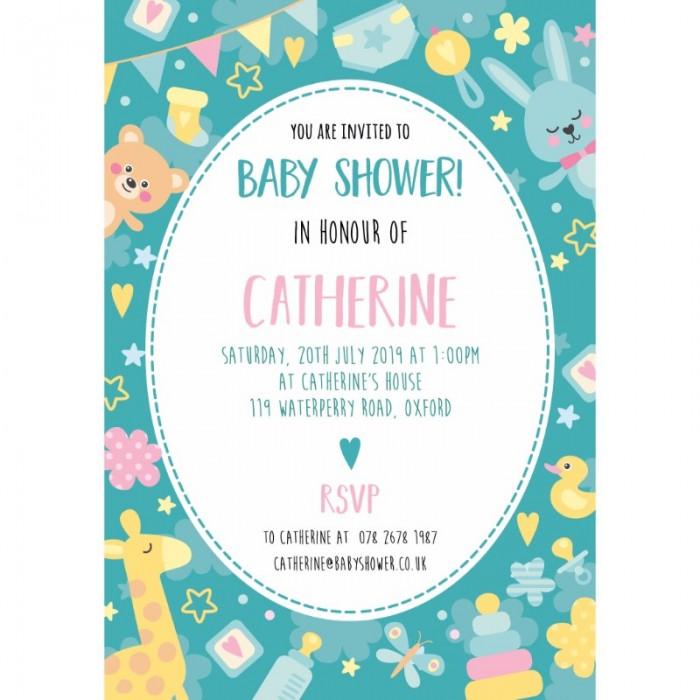 Green All Sorts Baby Shower Invitation