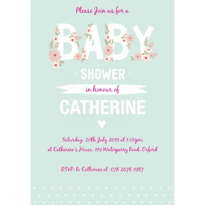 Delicate Flowers Baby Shower Invitation