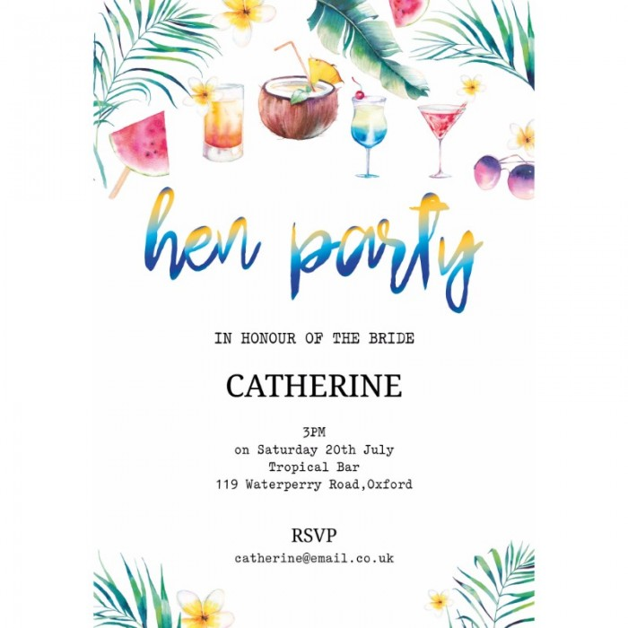 Cocktails & Party Hen Party Invitations