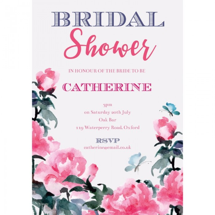 Watercolour Flowers Bridal Shower Invitations