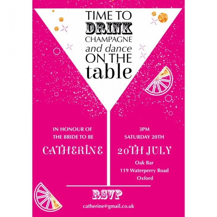 Drink, Dance & Party Hen Party Invitations