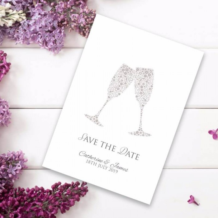 Raise Your Glasses Save the Date Card