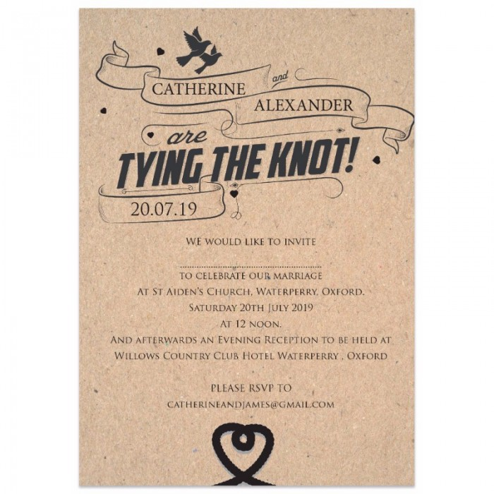 brown tying the knot wedding invitations paper themes wedding invites