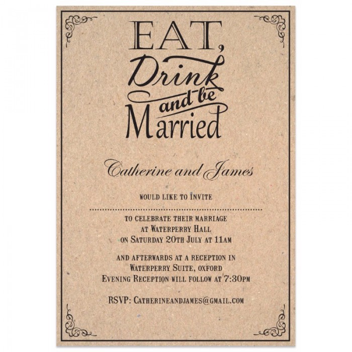 Cheap Wedding Invites.Brown Eat Drink Be Married Wedding Invitations