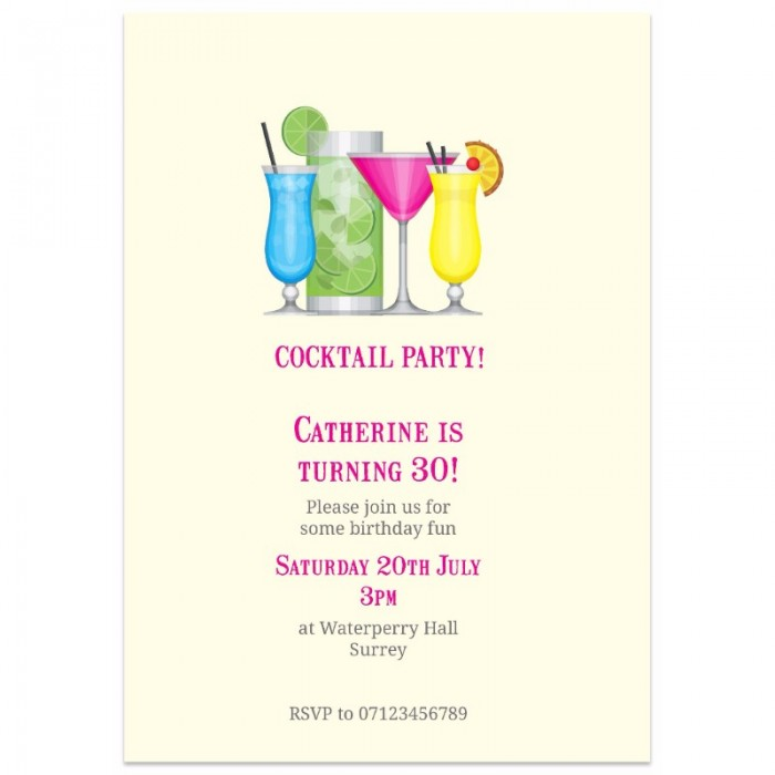 Cocktail Party Birthday Party Invitation