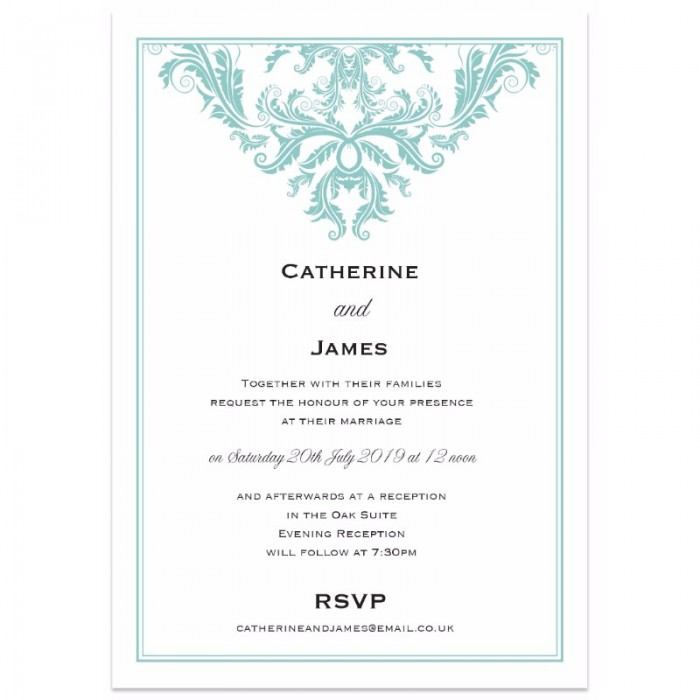 Baroque duck egg wedding invitations paper themes wedding invites baroque duck egg wedding invitations stopboris Image collections