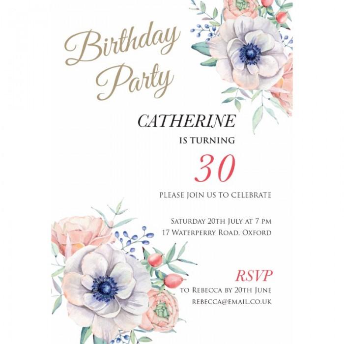 Flower Charm Birthday Party Invitation