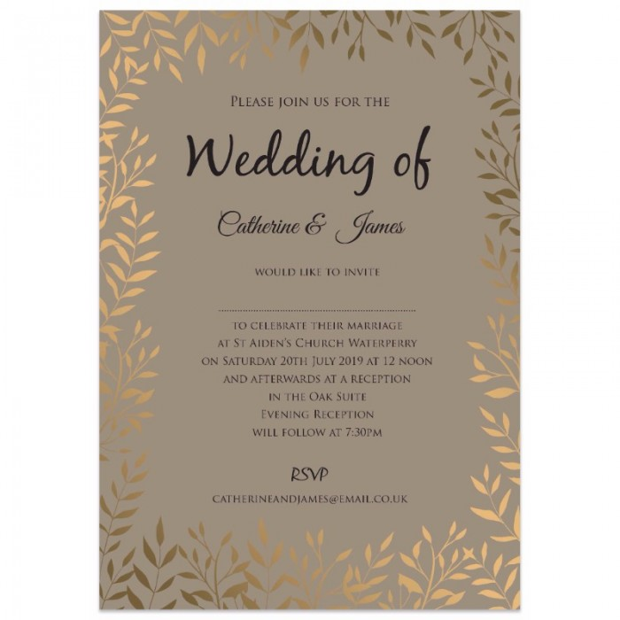 Gold Wedding Invitations.Gold Leaves Wedding Invitations