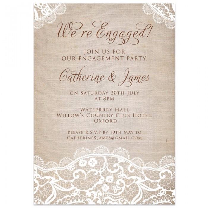 Vintage Lace Engagement Invitation