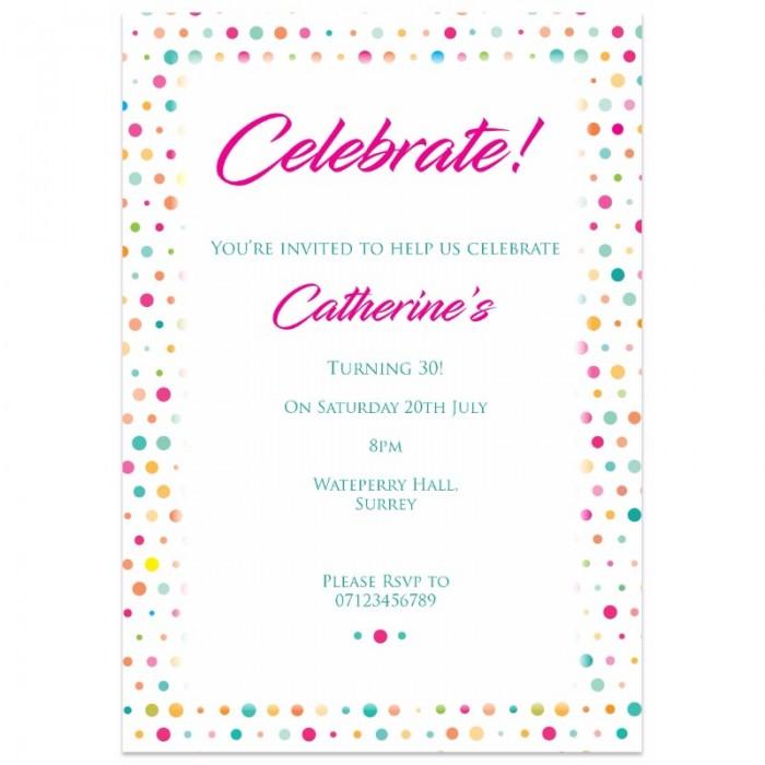 Colourful Celebration Birthday Party Invitation