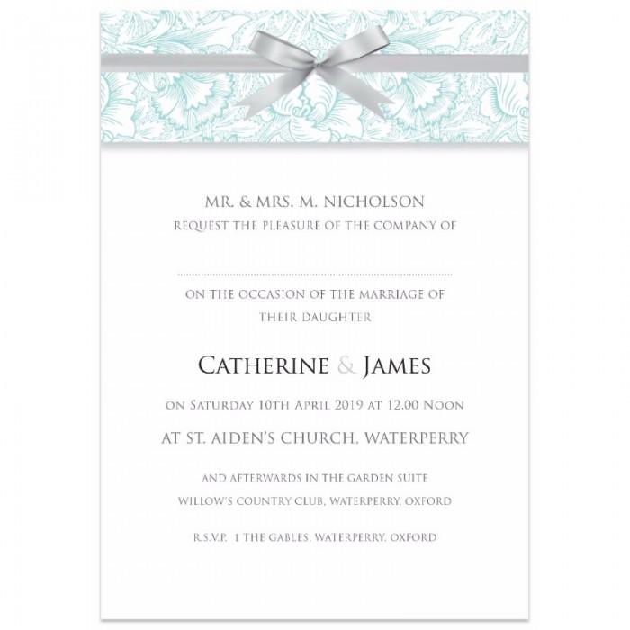 Teal Ribbon Damask Wedding Invitations