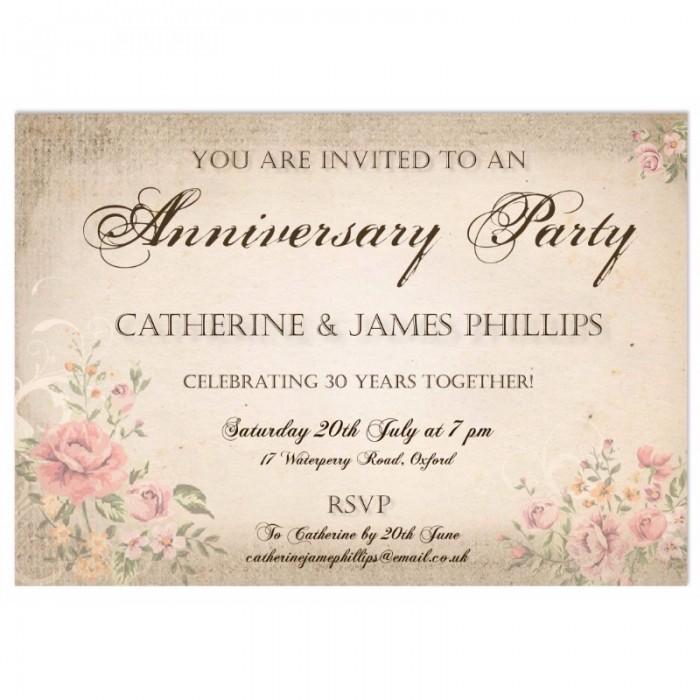 Vintage Wedding Anniversary Invitations