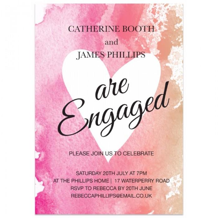 Watercolour Heart Engagement Invitation