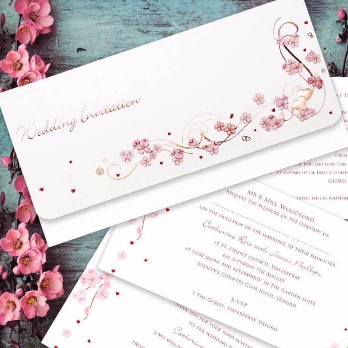 Beautiful Cherry Blossom Wedding Invitation