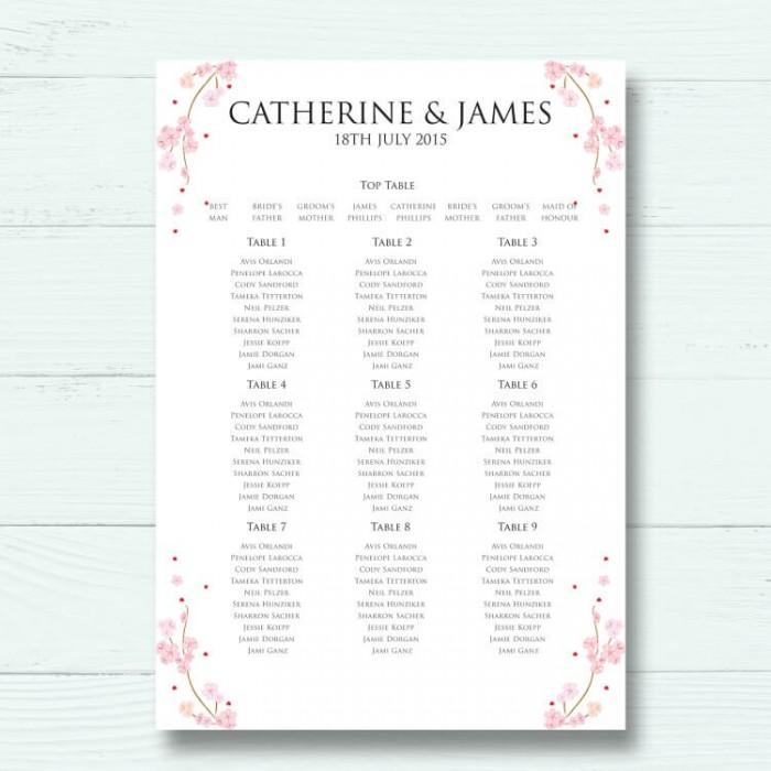 Cherry Blossom Wedding Table Plan Paper Themes Wedding Invites