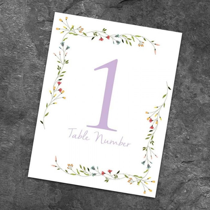 Delicate Table Numbers - Pack of 10