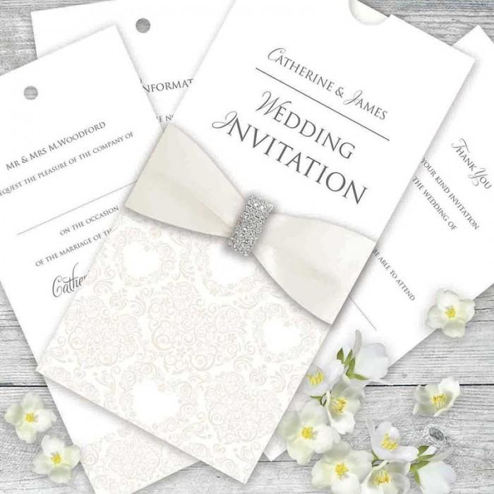 Cream Divine Wedding Invitation