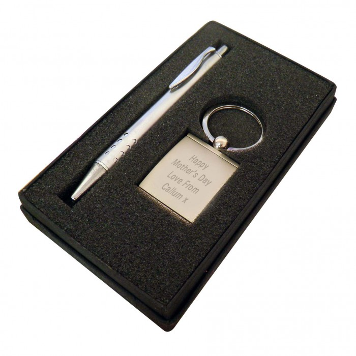 Engraved Silver Pen and Photo Key Ring