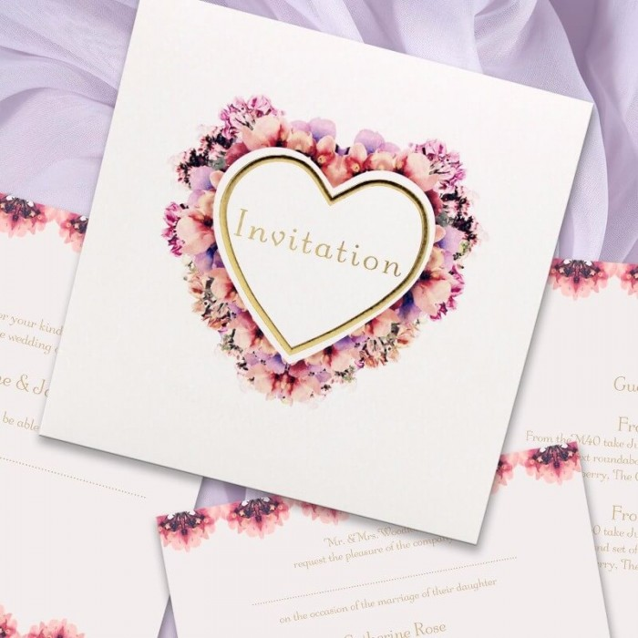 Floral Heart Wedding Invitation | Paper Themes Wedding Invites