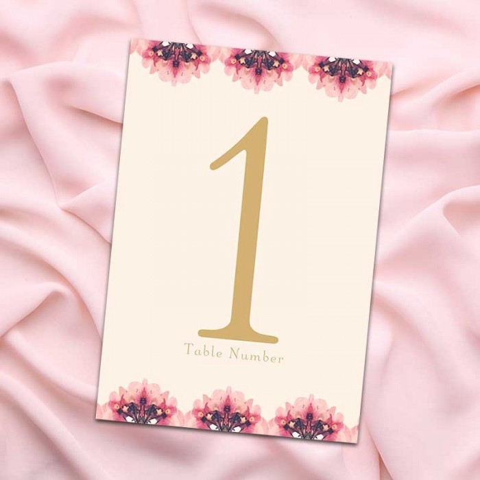 Floral Heart Table Numbers - Pack of 10